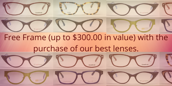 Free Frame (up to $300.00 in value) with the purchase of our best lenses.