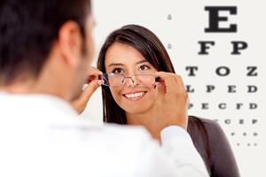 919f9329c57 Woman wearing glasses after taking a vision test at the doctor-1 Choosing  an eye ...